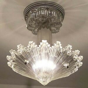 790 Vintage Art Deco Ceiling Light Lamp Fixture Glass Re Wired