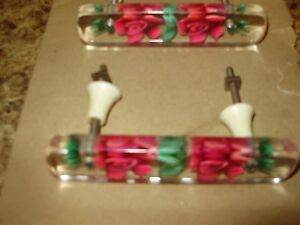 Rare Vintage Lucite Rose Flower Drawer Pull Set With Furniture Decals To Match