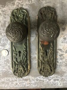 Vintage Cast Brass Victorian Art Nouveau Entry Door Knobs Back Plates Savoy Rhco