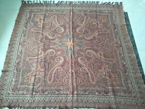 Antique French Paisley Kashmir Square Piano Shawl Wool Size58 X56 Table Cloth