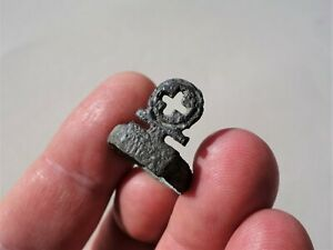 Ancient Roman Bronze Ring Key With Carved Cross To Wearing On Finger