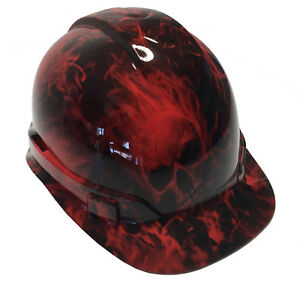 Hydro Dipped Hard Hat Red Flaming Skulls W Free Brb Tshirt