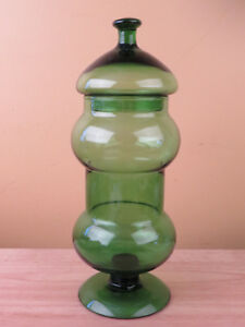Antique Apothecary Candy Soda Fountain Glass Jar Canister Emerald Green Wow R