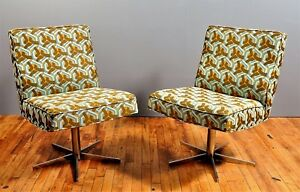 Home Office Chairs Mid Century Original Chrome New Upholstery Swivel 2
