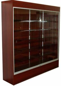 Cherry Wall Tower Display Case With Sliding Glass Doors Locks And Lights