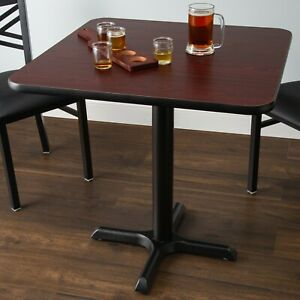 30 X 30 Square Reversible Cherry Black Table Top And Cross Base Plate