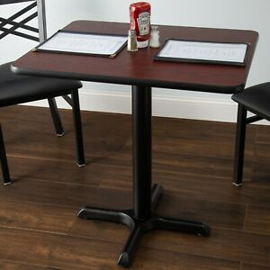 24 X 30 Square Reversible Cherry Black Table Top And Cross Base Plate