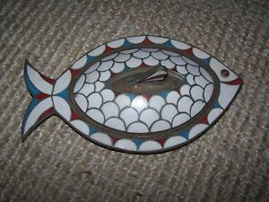 Vintage Mosaic Stone Inlay On Brass Fish Lid Decorative Dish Silver Metal Lining