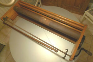 Antique Store Paper Roll Holder Dispenser Iron Crank Wood Industrial 45 X15 X6