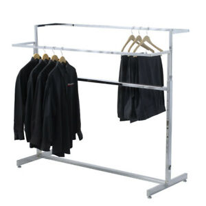 Double Bar Apparel Rack In Chrome Plated Steel 60 W X 24 D X 40 57 H Inch