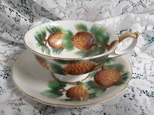 Saji Tea Cup Saucer Fancy China Hand Painted Footed Pines Pinecones 6oz