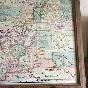 Antique Framed Map Of New Mexico 1889 El Paso And North Eastern Railroad