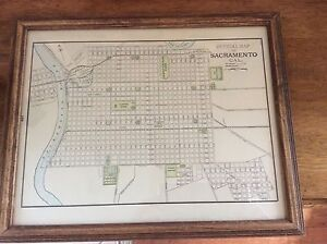 Antique Framed Map Of Sacrament Ca Printed In 1898 With Railroads
