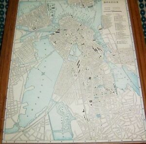Antique Framed Map Of The City Of Boston Showing Railroads Printed In 1889