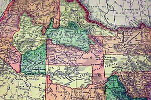 Antique Framed Map Of Idaho Fort Hall C S L Railroad