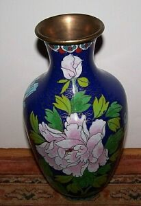 Asian Oriental Cloisonne Enamel On Brass Chrysanthemum Bird Fine Wires 8 Vase