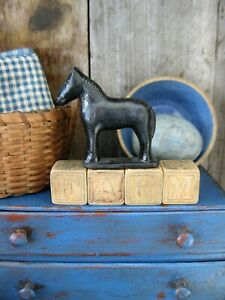 Small Antique Toy Wood Blocks Spell Farm W Old Toy Horse Free Shipping