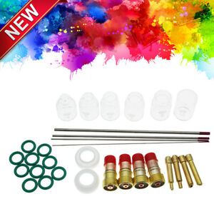 30pcs Welding Stubby Gas Lens Pyrex Cup Kit Fits For Tig Wp 17 18 26 Torch Fast