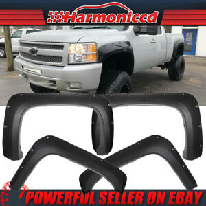 Fits 07 14 Chevy Silverado Long Bed Pocket Rivet Textured Pp Fender Flares 4pcs