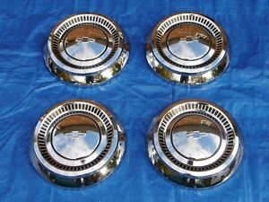Pretty Set Of Nos 1964 Chevy Bel Air Biscayne Impala 409 Dog Dish Hubcaps