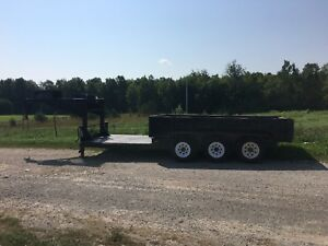 Triple Axle Gooseneck Dump Trailer Skid Steer Flatbed Hybrid Trailer