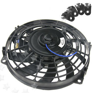 Black 12v Radiator Fan 80w For Universal Car Cooling Cooler Fan W Mounting Kit