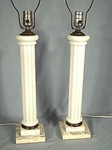 Pair Of Mid Century Classical Milk Glass Column Lamps On A Stepped Marble Base