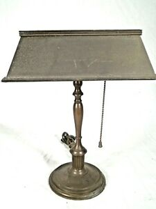 Antique Early 20th Century Solid Brass Bankers Library Desk Lamp