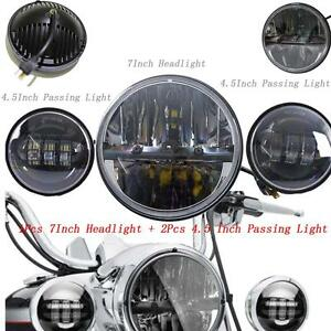 7inch 45w Led Headlight Projector 2x 4 5 Passing Light For Harley Motorcycles