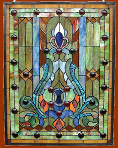Stained Glass Cabochons Tiffany Style Window Panels 18 X 25 Pair Handcrafted