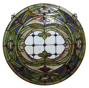 Pair Hand Crafted Stained Glass 24 Round Window Panels 268 Pieces Cut Glass