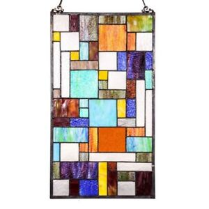 Stained Glass Tiffany Style Window Panels Modern Arts Crafts 13 X 23 Pair
