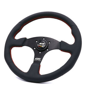 14inch Black Line Mugen Genuine Leather Steering Wheel Tuning Steering Wheel