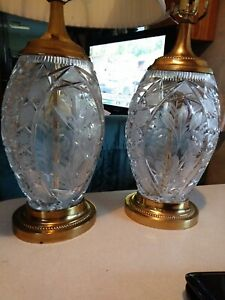 Pair Of Ovoid Dresden Roses Cut Crystal Glass And Brass Table Lamps