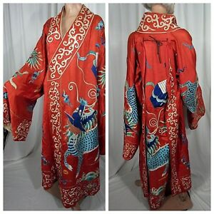 Antique Chinese Silk Embroidered Kimono Robe Coat Red Dragons Lucky Clouds