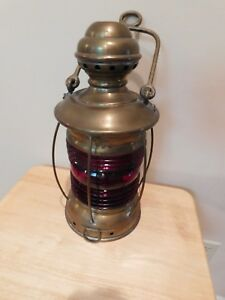 Perko Antique 15 Marine Lamp Ship S Lantern Red Lens Lovely Condition