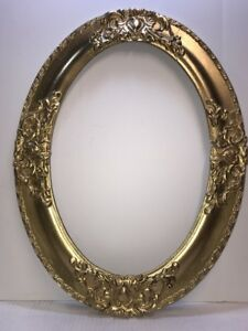 Large Antique Oval Gesso Wood Picture Frame Nice