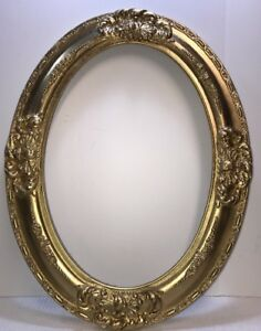 Large Antique Oval Gesso Wood Picture Frame W Shells Flowers