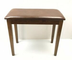 Vintage Wood Upholstered Vanity Piano Sewing Vanity Seat Bench Vintage Brown