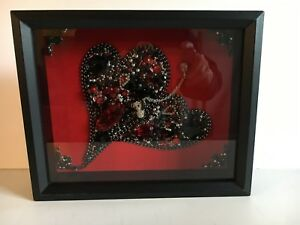 Vintage Jewelry Framed Art 3d Black Silver Red Heart Panda Bear Vanentine
