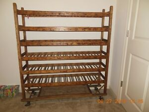 Vintage Wood Factory Rolling Rack