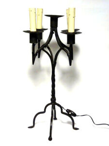 Early 1900 Wrought Iron Candle Holder Table Lamp