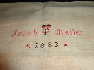 Antique 19th C Jacob Beiler 1883 Homespun Linen Show Towel Embroidered