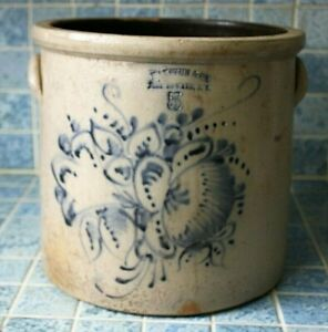 Rare Haxtun Co Fort Edwards Ny Stoneware Crock Cobalt Decorated 5 Gallon