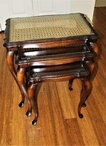 Nesting Tables Maple Birch Vintage Set 3 Hand Woven Cane