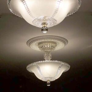 355 Vintage Antique Art Deco Glass Ceiling Light Lamp Fixture Chandelier