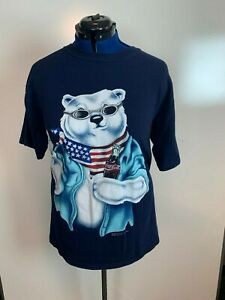 Vintage 1996 Coca-Cola Polar Bear American Bottle Single Stitch tshirt XXL   192