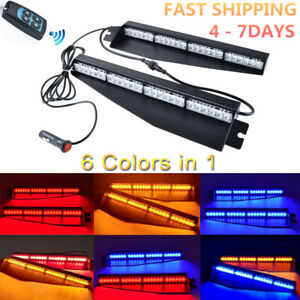 34 48led Amber Red Blue Car Emergency Warning Visor Dash Board Strobe Light Bar