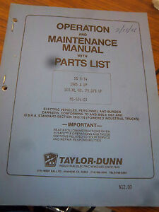 Taylor dunn Ss 5 34 ss 025 34 Parts maintenance operation Manual 1985 pwr tron