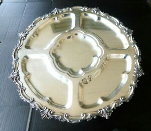 Vtg English Hallmarked Heavy Silver Plate Large Footed Lazy Susan Server 20 Dia